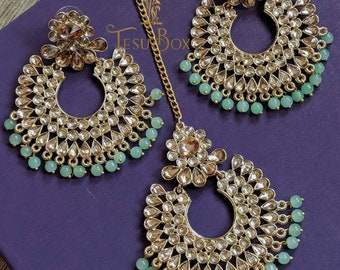 ae705d743 Mang Tikka set, Mint color tikka, Antique crystal tikka and jhumka in polki  stones, Indian wedding bridal set, Pakistani bridal Jewelry,