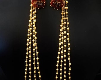 Bollywood earrings, Long Moti pearl jhumki, Detachable jhumki, Indian earrings, Pakistani jewelry, Statement earrings, South Indian jewelry.