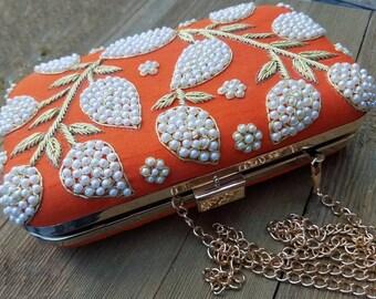 Orange Clutch bag, Bridesmaid clutch, Evening clutch, Bag, purse, Boho clutch, Ethnic clutch, Boho bag, Indian bag, Beaded bag, Silk bag.