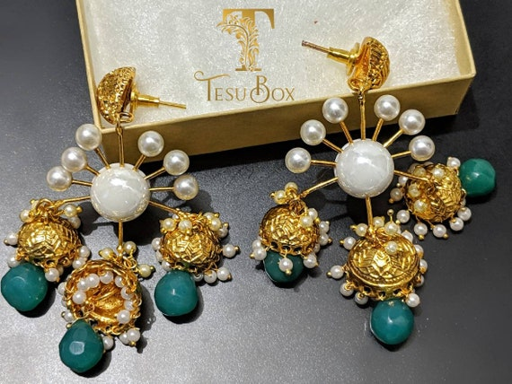 Mughal painted jhumka statement earrings Lightweight ethnic earrings Victorian Jewelry Bollywood Jewelry. Indian earrings Mughal style