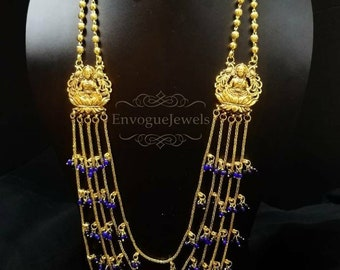 Laxmi ji necklace set, Temple jewelry, multilayer, Indian necklace, South Indian jewelry, Temple necklace, Goddess Laxmi, Blue stone, Golden