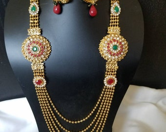 Traditional Indian jewelry set, Gold necklace set, South Indian jewelry, Temple Jewelry, Red and Green stone necklace, Indian bridal Jewelry