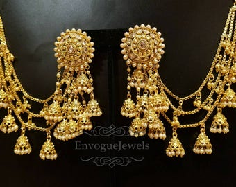 Bahubali earrings, Indian Jhumka set with ear chains, Indian ear chain, Devsena  earrings, Bollywood jewelry,  South Indian jewelry, Saharay