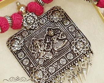 Oxidized jewelry, Indian Silver Necklace, Temple jewelry, German Silver, Tribal Jewelry, Boho necklace, Ethnic Jewelry, Goddess necklace.