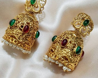 Jhumka earring, Ethnic earrings, Bollywood jewelry, Temple Jewelry, Gold plated jhumkas, South Indian jewelry, Boho earrings, Small jhumki.