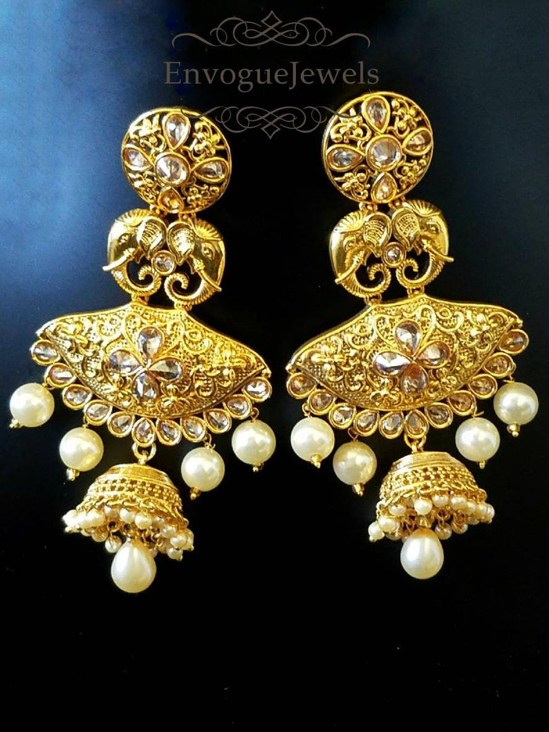 Fashion Jewelry Jewelry & Watches Lovely Indian Ethnic Gold Plated Blue Stone Pearl Earring Jhumka Bollywood Jewelry