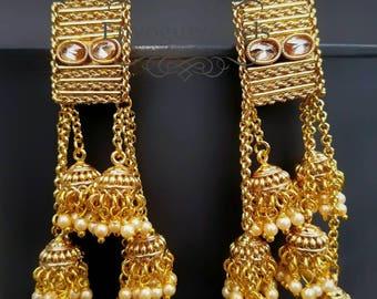 Indian jewelry, Temple Jewelry,   South Indian jewelry, Ethnic,  jhumka earrings, Bollywood jewelry,  lightweight Jhumka,  Indian earrings.
