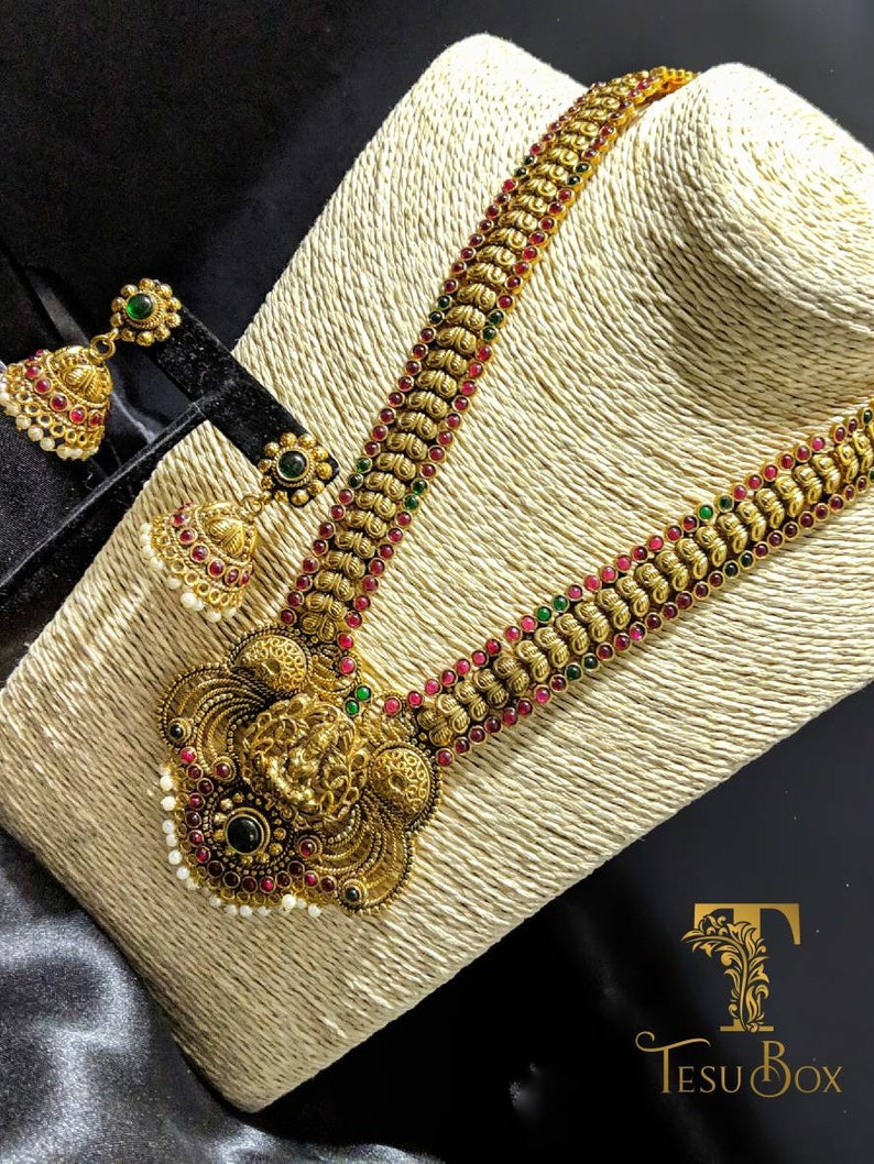 Oxidized gold plated. South Indian jewelry Indian wedding jewelry Laxmi ji necklace set necklace with Jhumki earrings Temple Jewelry