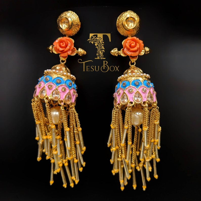357bcebbd Hand painted Indian earrings floral jhumka Bollywood style   Etsy