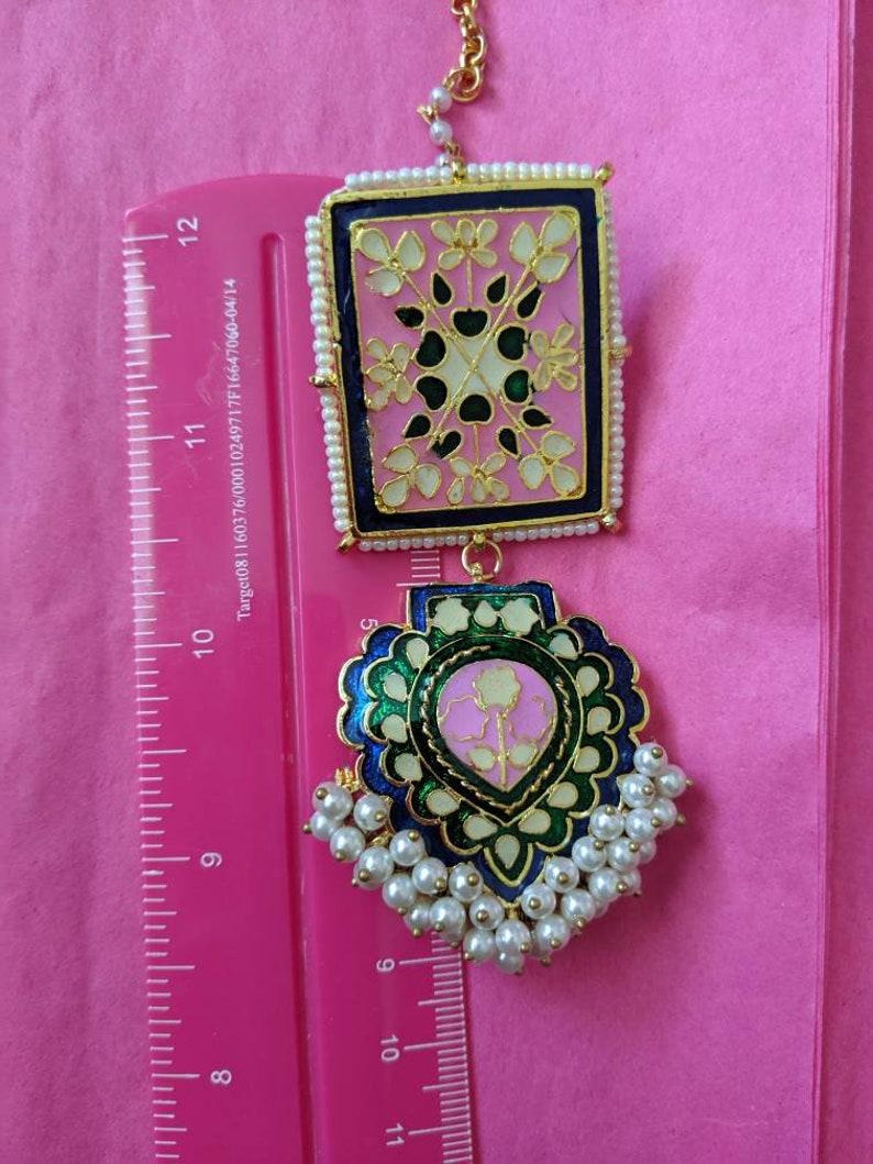 Jhumka with pearl ear chains Pakistani Indian earrings Pink and green. Saharay jhumke Moti pearl ethnic earrings Meenakari jhumka