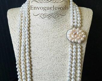 White pearl necklace, Multi strand necklace, Moti pearl Har, Heavy, Nizam jewelry, Haar, Mughal jewelry, Pakistani jewelry, Indian jewelry.