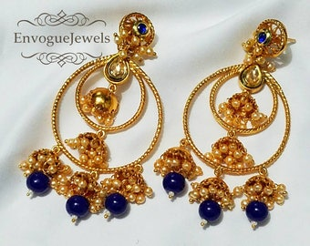Indian hoops, Gold jhumka, Bali earring, Jhumka, Bollywood jewelry, Temple jewelry, Blue Gold jhumka, Kundan jewelry, Multiple jhumki , Boho