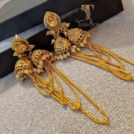 Indian Fusion Jhumka Gold Chain Earrings Kundan Earrings Etsy