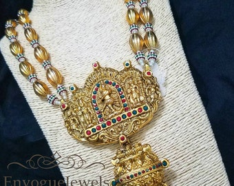 Temple Jewelry, Dholki Mala, South Indian jewelry, Temple necklace set, Natraj pendant, Indian wedding jewelry, Gold necklace set, Bollywood