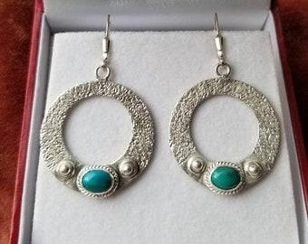 Kingman Turquoise Sterling Silver Hoop Earrings, Textured Hoops , gift for her, bobo style , Acorn Hills Studio