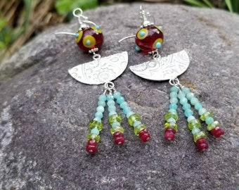 Artisan Lampwork Glass Dangle Earrings with Handmade Embossed Sterling Silver and  Natural Gems of  Amazonite, Peridot, Ruby