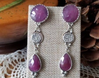 Natural Pink Sapphire Gemstone Drop Dangle  Earrings, Handmade Sterling/Fine Silver settings by Acorn Hills Studio, Gift for Her