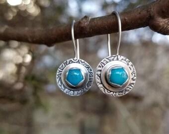 Turquoise & Sterling Silver Artisan made Drop Earrings, Hand Embossed Sterling Silver, Natural Gemstones, AcornHillsStudi, Gift for her