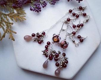 Chocolate Moonstone,Red Garnets and Pyrite Dangle Earring, Handmade Lampwork Glass &Gemstone Dangle Earring, Sterling Silver locking EarWire