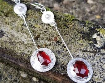 Rhodolite Garnets Sterling Silver Long Earrings, Handmade Embossed Pendulums, by AcornHillsStudio, gift for her, Artisan made,