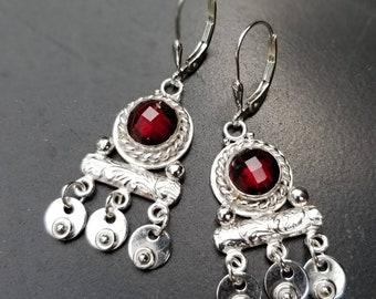 Garnet Handmade Sterling Silver Earrings, Handmade Ancient Roman Inspired  Jewelry, Acorn Hills Studio