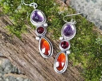 Amethyst, Red Garnet & Hessonite Garnet Gemstone Drop Earrings, Artisan made Sterling Silver Jewelry, Gift for her, Autumn colors