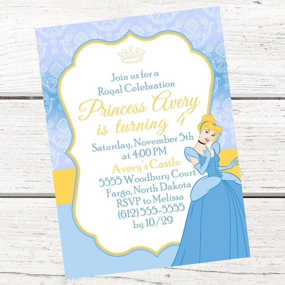 Cinderella Invitation Free Thank You Card File Cinderella Etsy