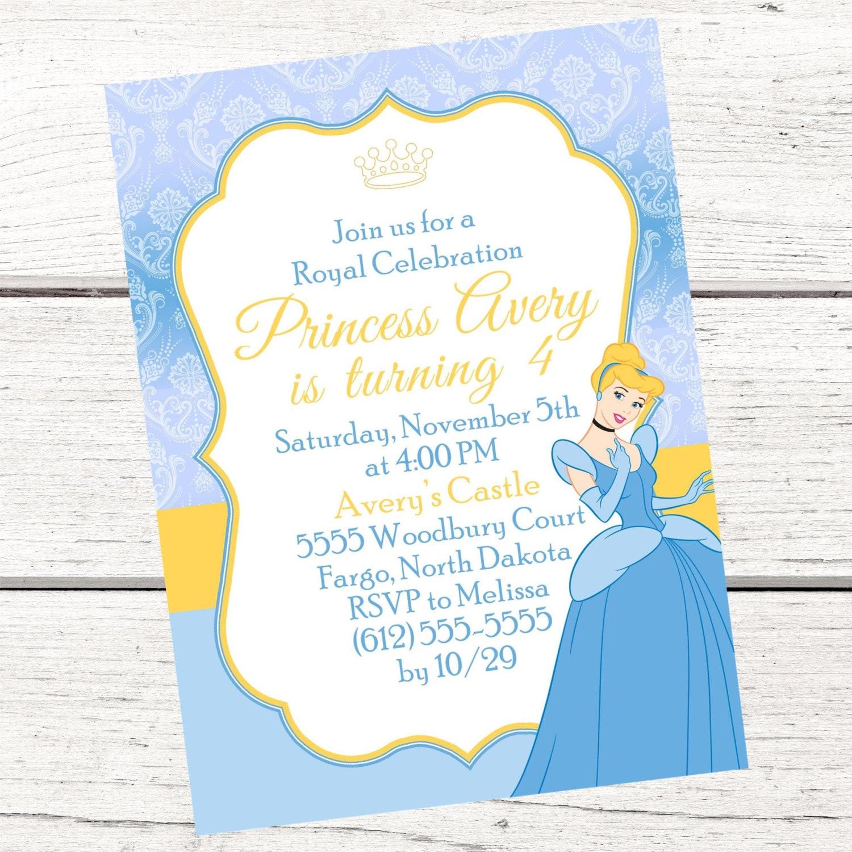 Cinderella Invitation FREE Thank You Card File Cinderella | Etsy