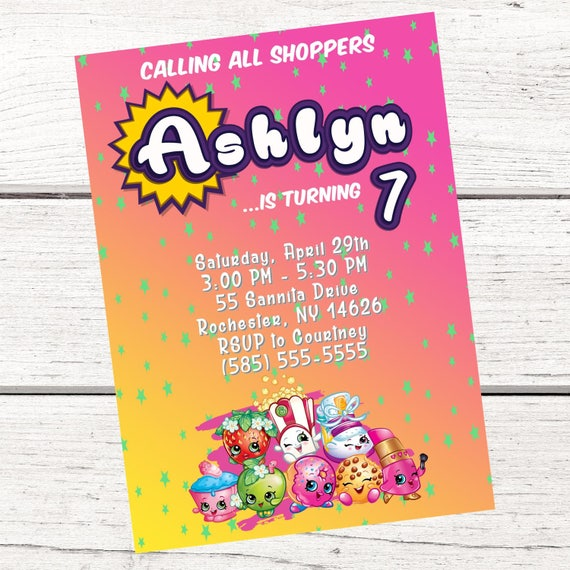 Shopkins Invitation FREE Thank You Card File