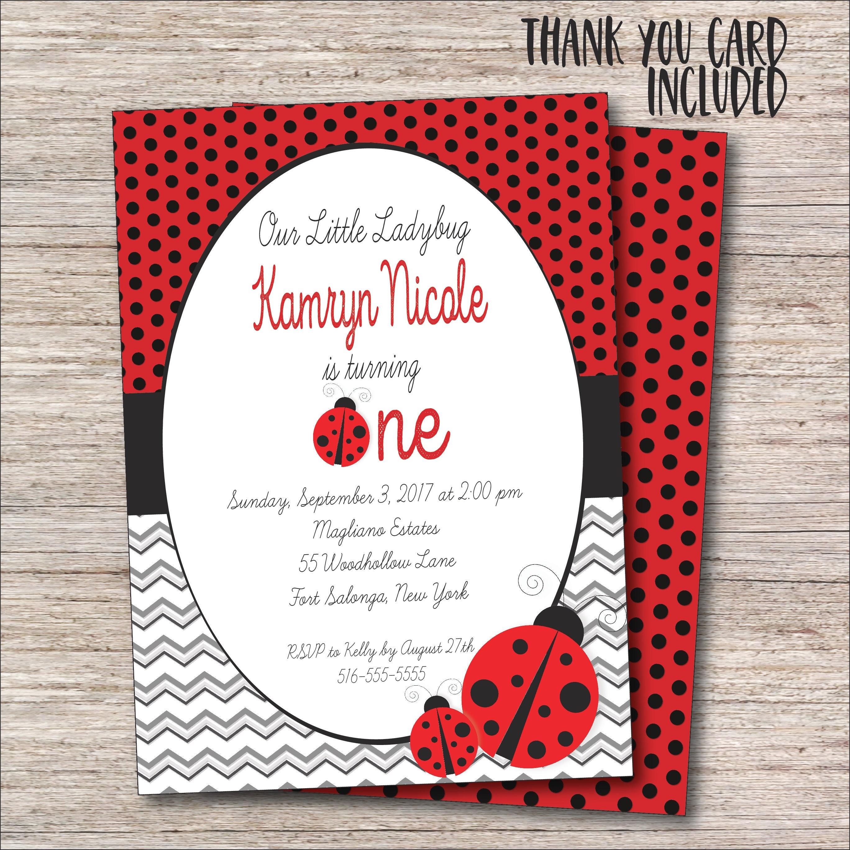 Ladybug Invitation FREE Thank You Card File Ladybug | Etsy