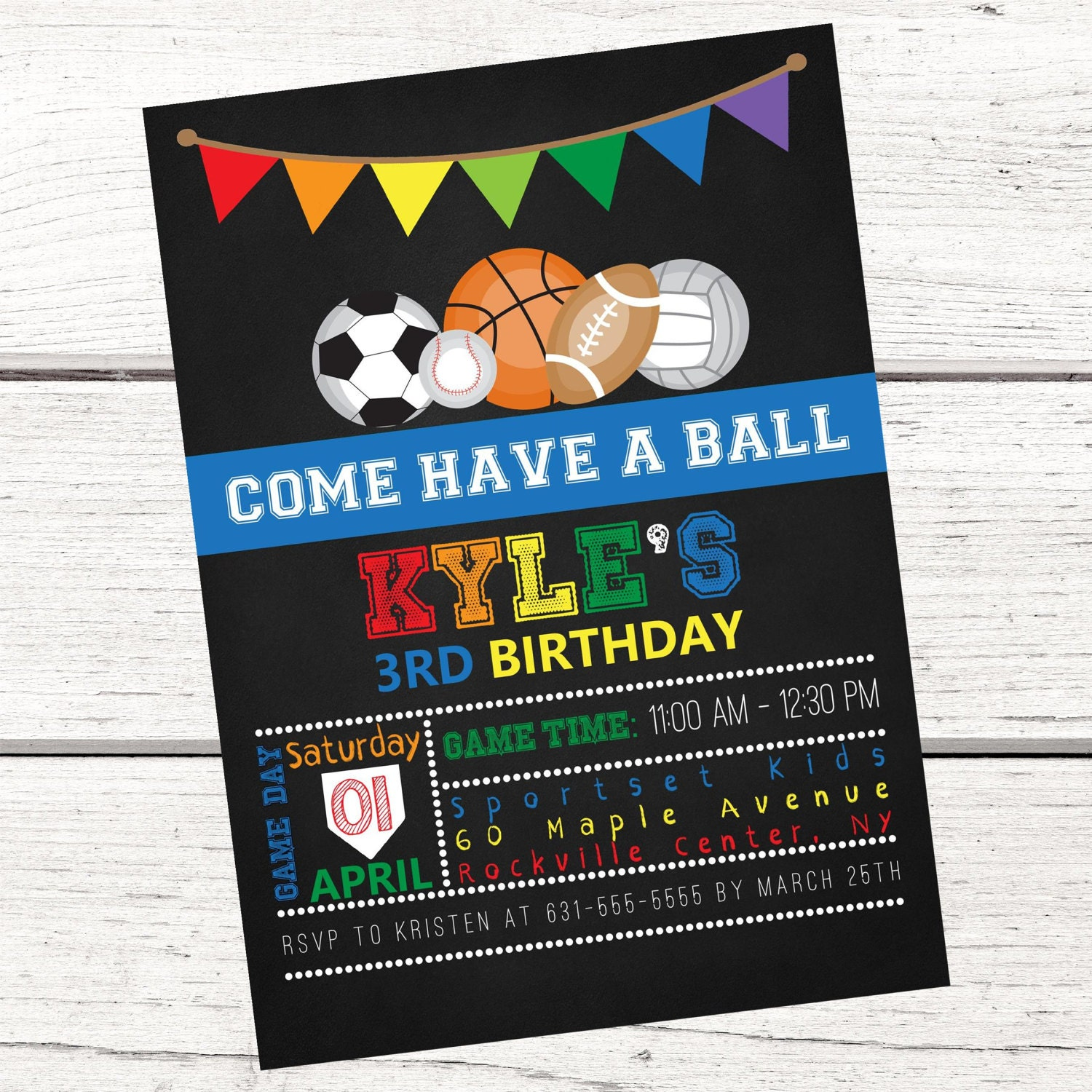 Sports Invitation FREE Thank You Card File Birthday