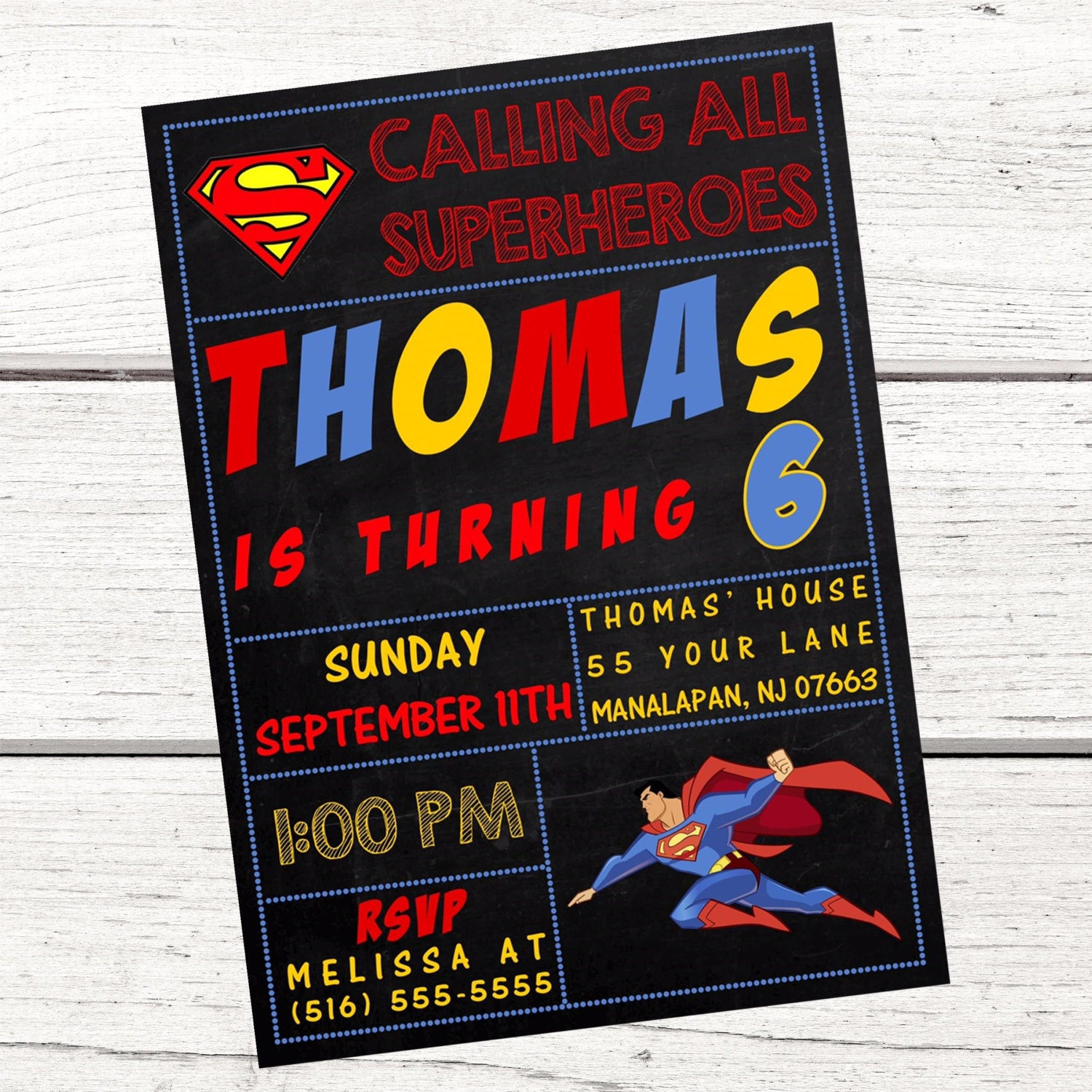 Superman Invitation FREE Thank You Card File Superman Party | Etsy
