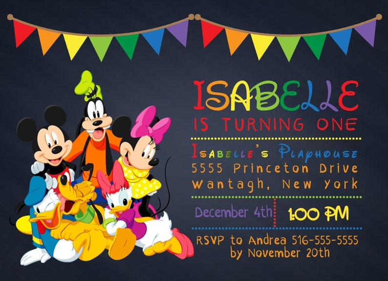Invitación De Mickey Mouse Clubhouse Gratis Gracias Archivo De Tarjeta Impreso O Digital Invitación Mickey Clubhouse Cumpleaños Invitación
