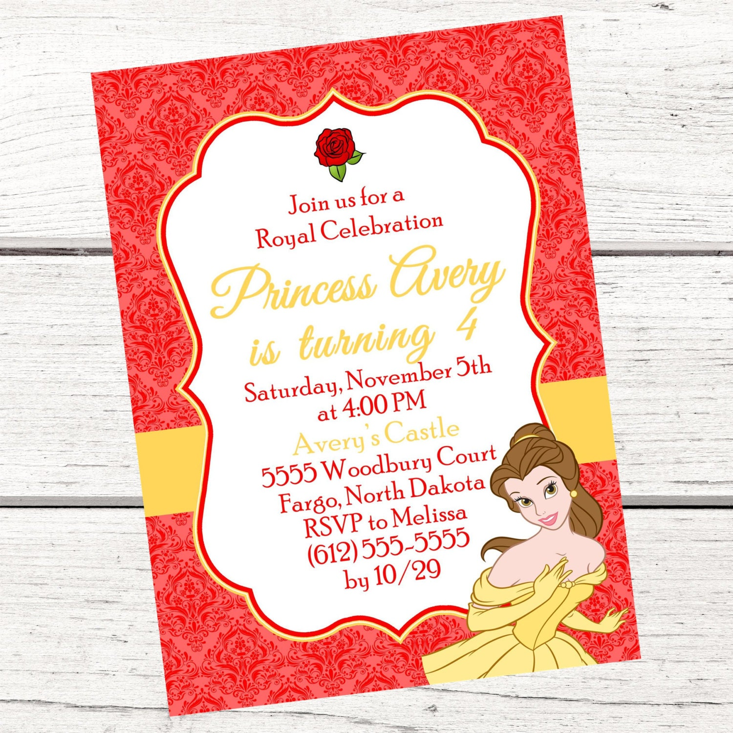 Princess Belle Invitation FREE Thank You Card File Beauty | Etsy