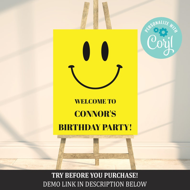 Enjoyable Smiley Face Birthday Sign Happy Face Birthday Sign Editable Template Printable Decorations Banner Welcome Sign 014 Home Remodeling Inspirations Cosmcuboardxyz