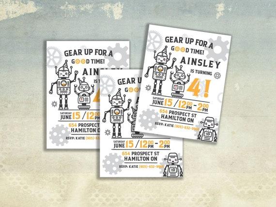 Robot Birthday Party Invitation Card Invite Custom Personalized Invite Robotic Theme Boy Fun Digital Download Printable Evite