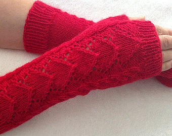 mittens gloves knit mittens without fingers knit long mittens red heart great gift for Valentine's Day womens red mittens birthday gift