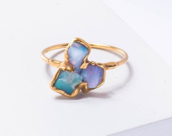 Triple Raw Opal Ring for Women, Gold Ring, Unique Gift for Her, Gemstone Ring, Raw Stone Ring, Opal Engagement Ring, October Birthstone