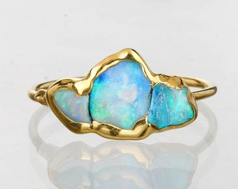 Triple Raw Opal Ring for Women, Gold Ring, Opal Ring, Unique Gift for Her, Gemstone Ring, Opal Engagement Ring, October Birthstone