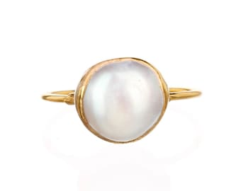 Large Raw White Pearl Ring for Women, Gold Ring, June Birthstone, Delicate Stack Ring, Dainty Ring, Minimalist Ring, Pearl Engagement Ring