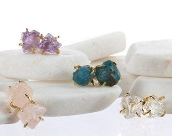Vermeil Claw Raw Gemstone Earrings for Women, Weird Earrings, Birth Month Jewelry, Gold Stud Earrings, Raw Crystal Earrings