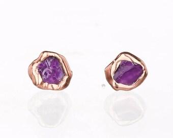 Gold Amethyst Drop Earrings 14K Gold Vintage Posts Lavender Studs Purple Small Dainty Gold Amethyst Studs Filigree Hearts
