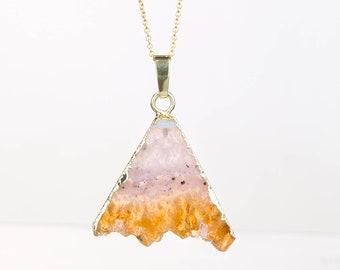Triangle Raw Citrine Necklace, Raw Citrine Pendant, Raw Crystal Necklace, Raw Layered Pendant, Boho Necklace, Raw Gemstone Necklace, Edgy