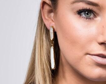 Raw Crystal Statement Earrings, Herkimer Diamond Statement Jewelry, Rough Crystal Earrings, Drop Earrings, Dangle Wedding Earrings EHH1