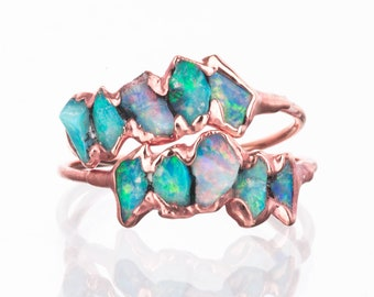 Eternity Raw Opal Ring for Women, Rose Gold Ring, Unique Gift for Her, Gemstone Ring, Raw Stone Ring, Opal Engagement, October Birthstone