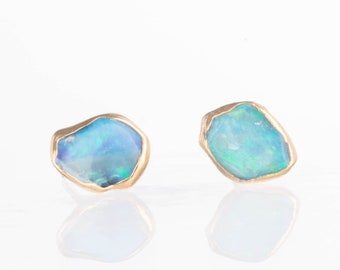 Raw Opal Earrings, Raw Stone Earrings, Gold Opal Stud Earrings, Unique Gift, Dainty Earrings, October Birthstone Earrings, Opal Jewelry