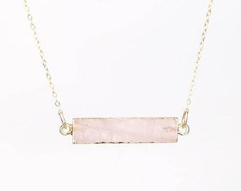 Raw Rose Quartz Necklace, Rose Quartz Bar Necklace, Crystal, Rose Quartz Pendant, Indie Jewelry, Taurus Necklace, Raw Crystal Jewelry