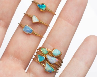 Mini Raw Opal Ring for Women, Gold Ring, Dainty Ring, Gemstone Ring, Gift for Her, Opal Engagement Ring, Opal Jewelry, October Birthstone