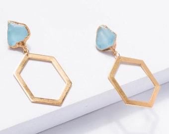 Raw Topaz Statement Earrings, Sky Topaz Statement Jewelry, December Birthstone Earrings, Raw Crystal Earrings, Drop Earrings, Dangle ETB1