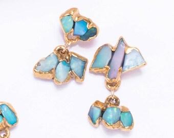 Dangle Raw Opal Earrings,  Statement Earrings, Unique Gift for Women, Dainty Drop Earrings, October Birthstone Earring, Australian Opal